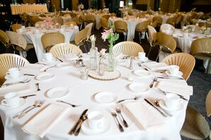 White Table Linens with Pink Flower Centerpieces
