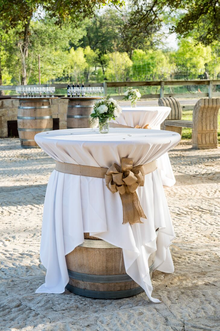 Fantastic Wine Barrel Cocktail Table With Burlap Bow Ncnpc Chair Design For Home Ncnpcorg