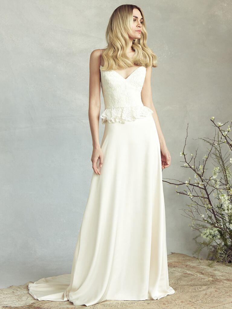 Savannah Miller Spring 2020 Bridal Collection wedding dress with lace ruffled bodice