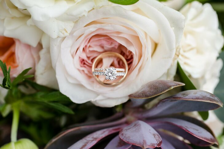 "Adam met Allie at a common friend's barbecue. He surprised Allie by showing up in Nashville, Tennessee, where she was on vacation. ""My ring is supersimple and everything I wanted,"" she says. It's a round diamond set in white gold."