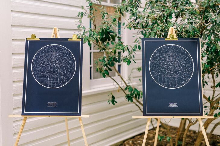 Modern Constellation Art on Wood Easels