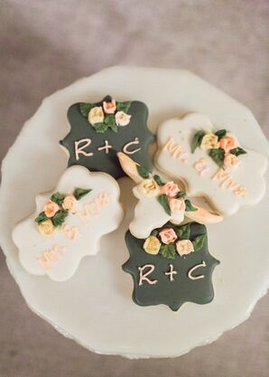 Custom Cookies with Couple's Initials and Flowers