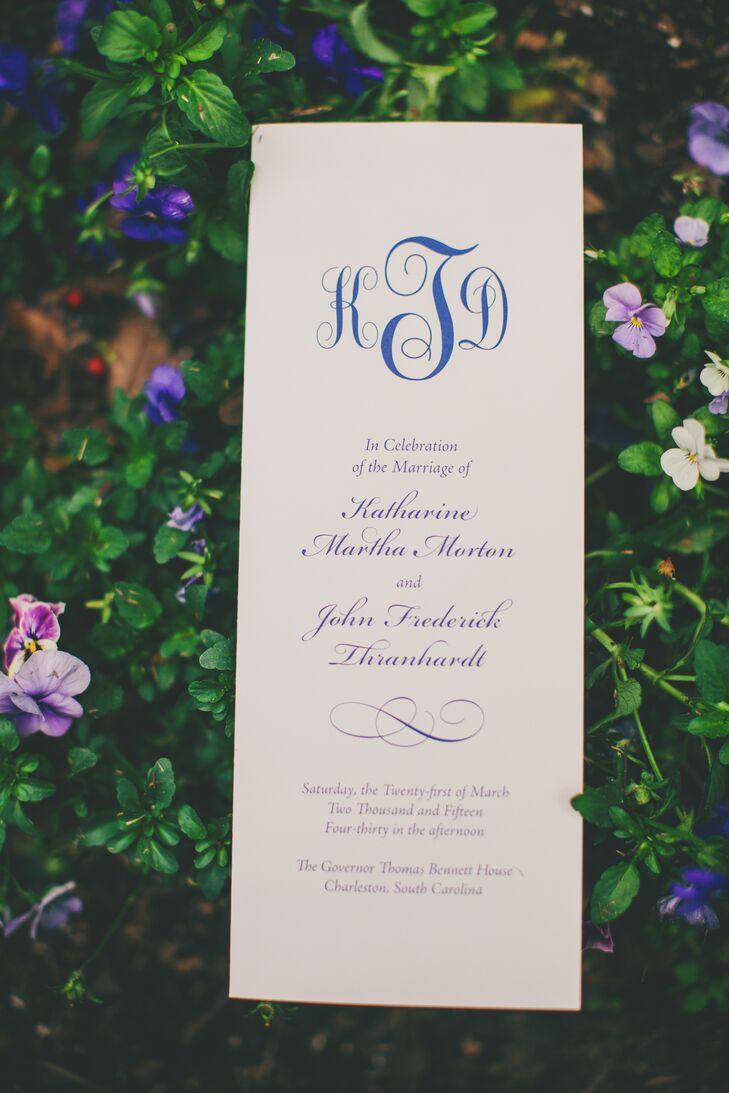 A large navy monogram took center stage on the Southern-inspired programs given to guests upon arrival. To follow the motif for their big day, Katie and Derick's monograms were simple in design yet elegant with billowing cursive.