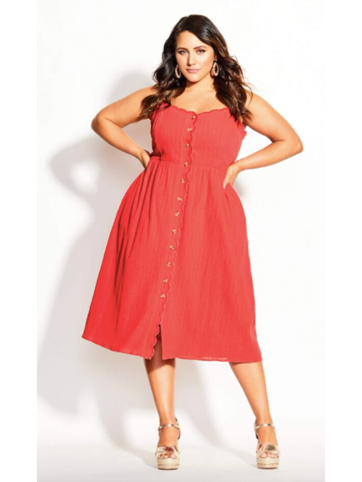 Coral midi dress with scallop neckline and front buttons