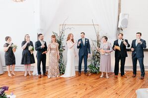 Champagne Toast During Natural Wedding Ceremony at Power Plant in Philadelphia, Pennsylvania