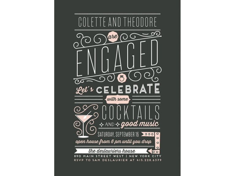 Casual chalk board engagement party invitation