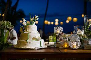 Tropical White Wedding Cake at Beach Destination Wedding