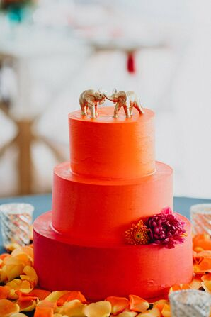 Orange Round, Tiered Cake with Gold Elephant Topper