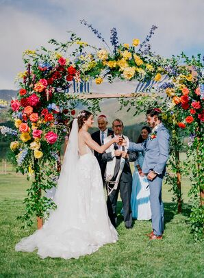 Couple Under Chuppah at Jewish Wedding Ceremony in Colorado