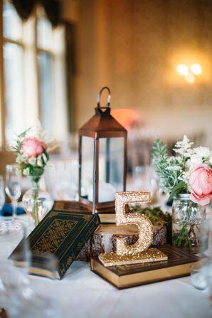 Glittery Gold Table Numbers