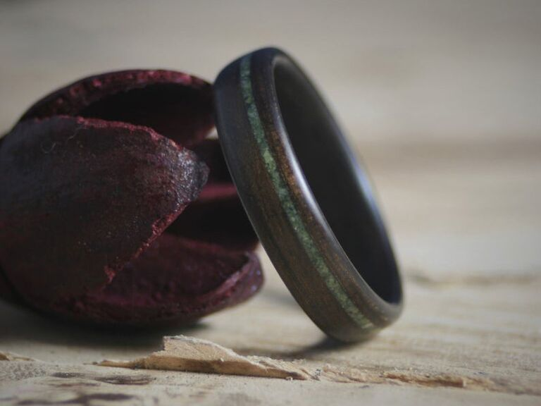 Wooden ring with jade center