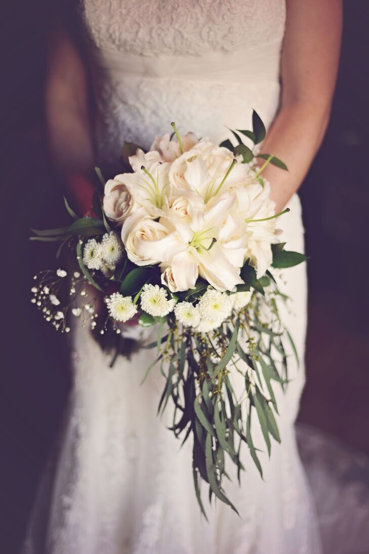 White Rose and Lily Bouquet with Seeded Eucalyptus