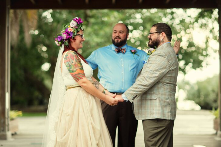 """Their wedding was made even sweeter with a few custom elements. Their officiant for the ceremony was Owen's best friend. They also incorporated a special moments to remember loved ones: """"We had a candle burning for deceased family members, and Annie wore her grandmother's wedding ring during the service,"""" Owen says."""