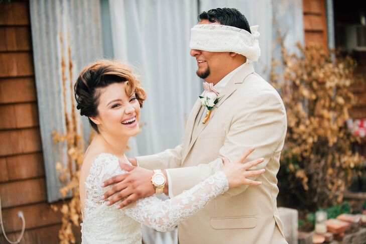 Pre-Ceremony Blindfolded Bride and Groom Meeting in Arizona