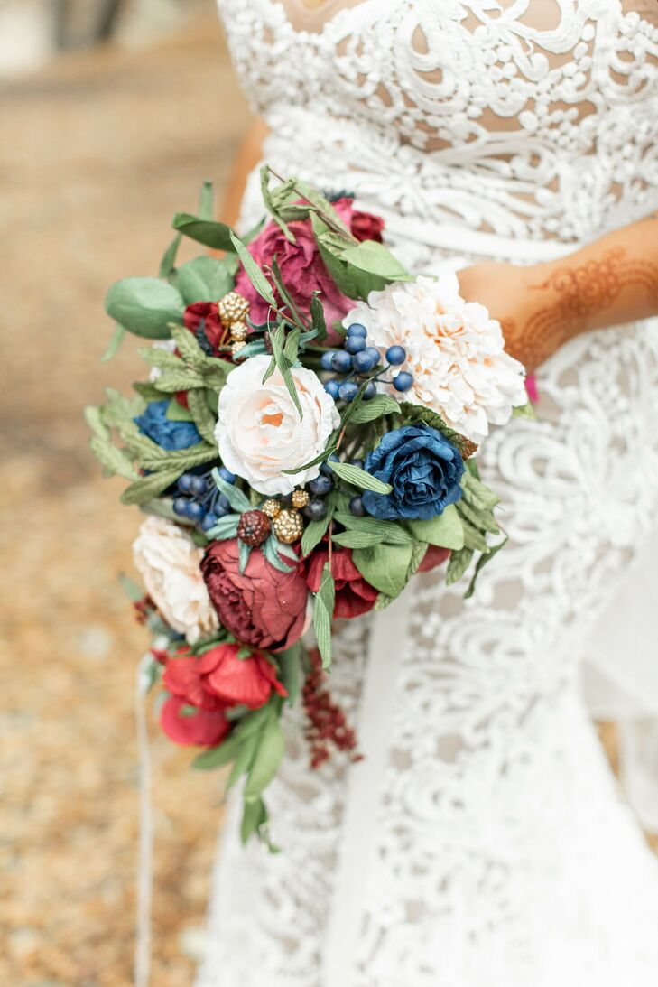 Bouquet with Faux Flowers for Wedding at Riverbed Farms in Anaheim, California