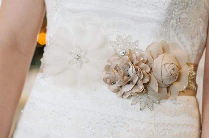 Wedding dress sash with mocha floral appliques