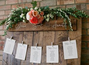 Rustic, Elegant Wooden Seating Chart with Flowers and Greenery