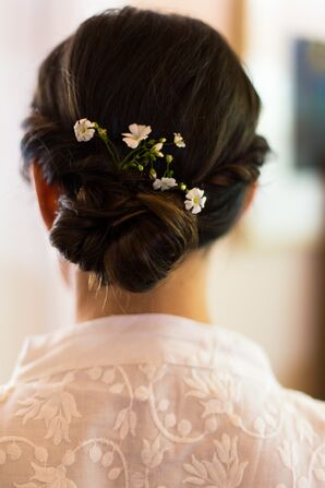 Small White Flowers in Updo Hairstyle