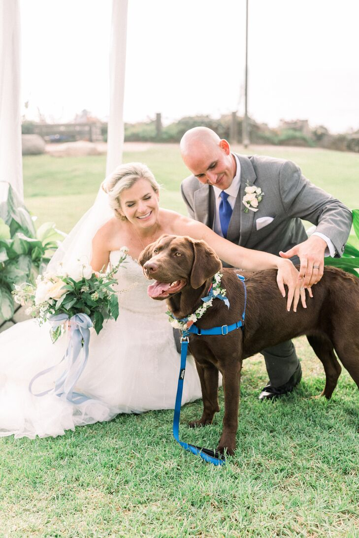 Newlyweds with Their Dog