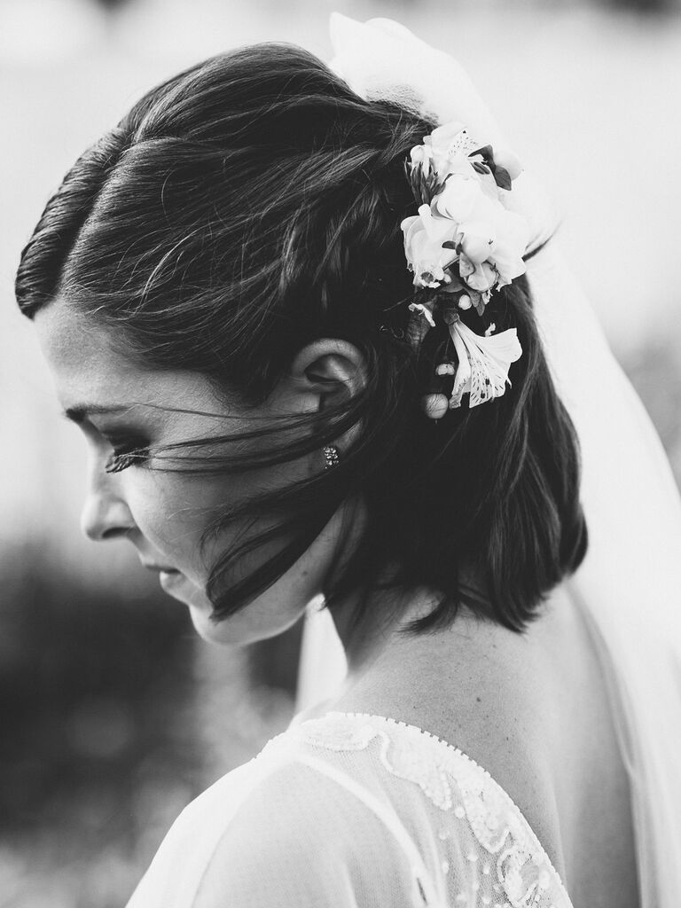 wedding braid hairstyles half-up with flowers short hair