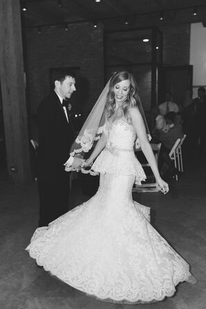First Dance with Bride in Twirling Lace Peplum Wedding Dress and Veil
