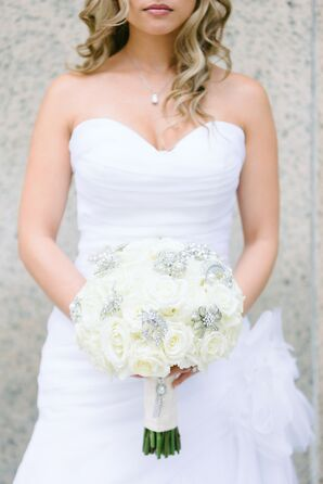 Bridal Bouquet with Ivory Roses and Brooches