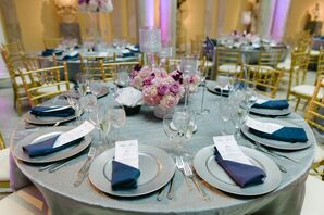 Silver Linens, Pink Centerpieces and Gold Chairs at Reception