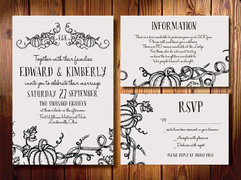 Fall pumpkin halloween wedding invitation