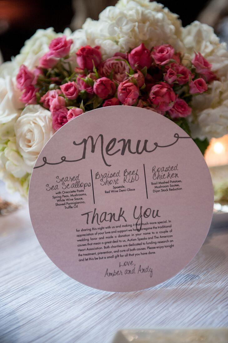 Circular Pink Wedding Menu