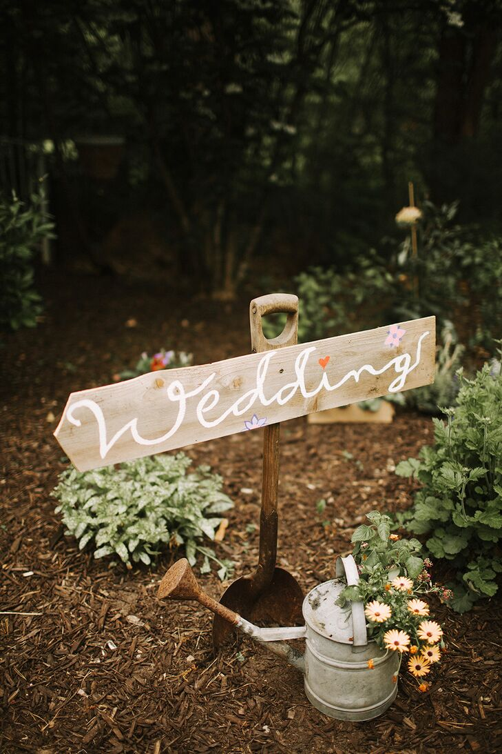 Simple Wooden Wedding Sign