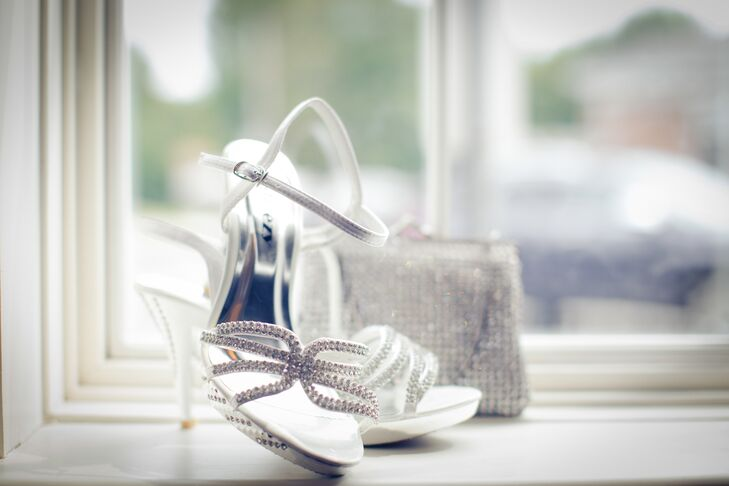 Genell wore silver shoes accented with rhinestones on the wedding day.