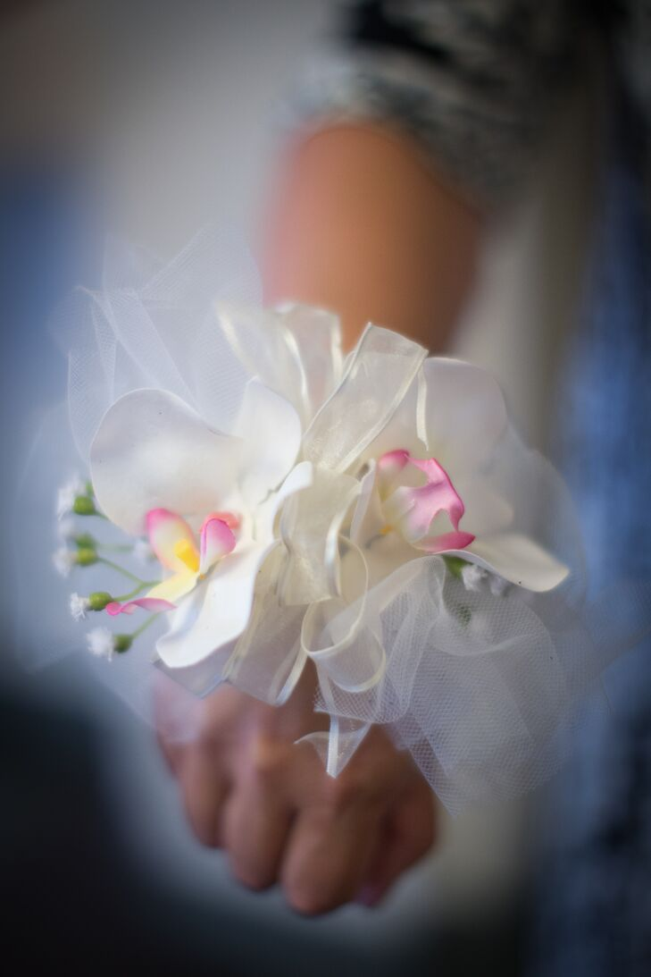 White With Pink Detail Corsage