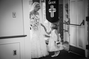 Bride with Flower Girl Holding Basket