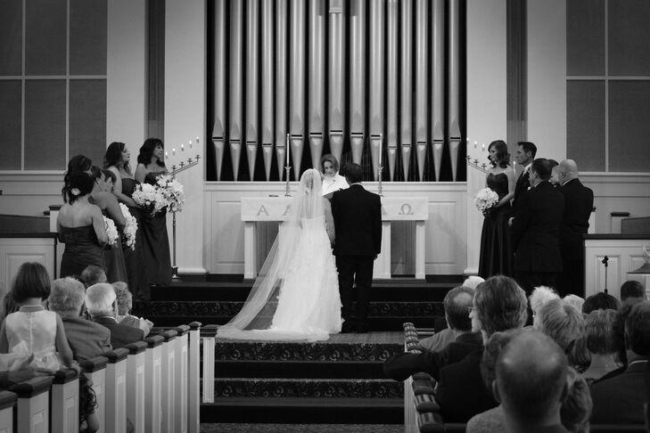 Bride and Groom Facing Ceremonial Altar