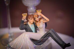 Bride and Groom Figurine in Martini Glass