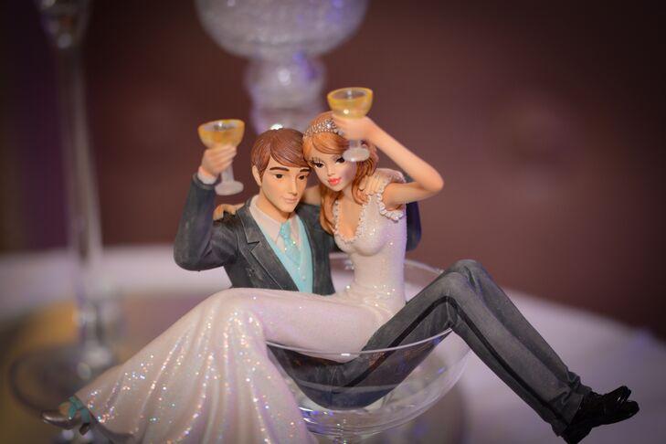 Bride and Groom Figurine in Martini Glass
