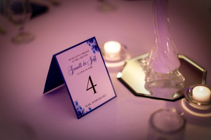 """The table numbers were done in the design of our wedding invitations,"" says Genell. ""We asked our guest to write down wedding wishes and thoughts for us. On each year of our anniversary, we will open the table number for the corresponding year of our anniversary and read the wedding wishes of our guest."""