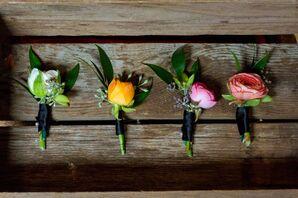 Varied Color Groomsmen Ranunculus Boutonnieres
