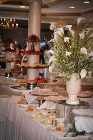 Dessert Spread With Calla Lily Arrangement