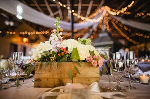 Rustic Boxed Hydrangea and Orchid Floral Centerpiece