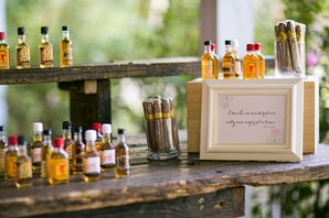 Miniature Whiskey Bottle and Cigar Reception Bar