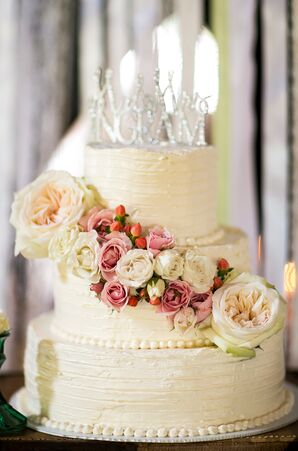 Tiered Ivory Wedding Cake with Garden Roses