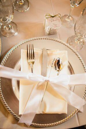 Elegant Ribbon Wrapped Silver Place Setting