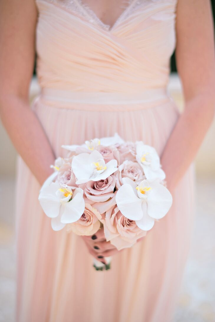 Blush Rose and White Orchid Bridesmaid Bouquet