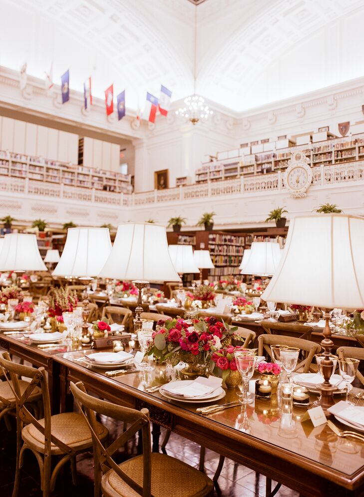 Elegant Lamplit Library Reception