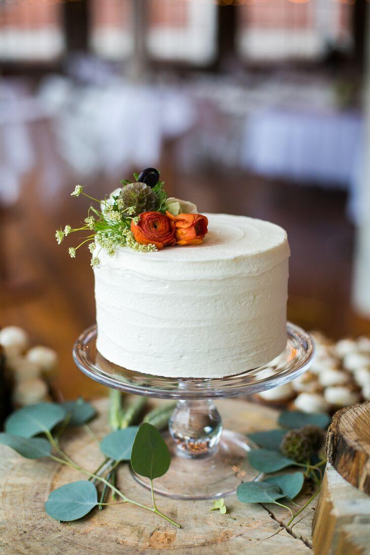 One Tier White Cake Fresh Flower Topper