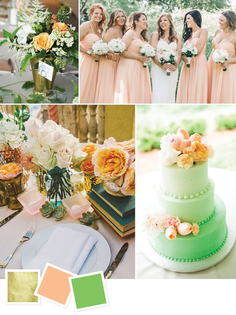 15 wedding color combos youve never seen gold peach and green wedding color palette junglespirit