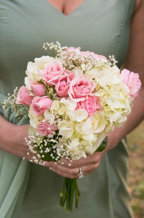 Pink and White Baby's Breath Accented Bouquets