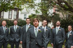 Gray Groomsmen Suits and Sage Patterned Ties