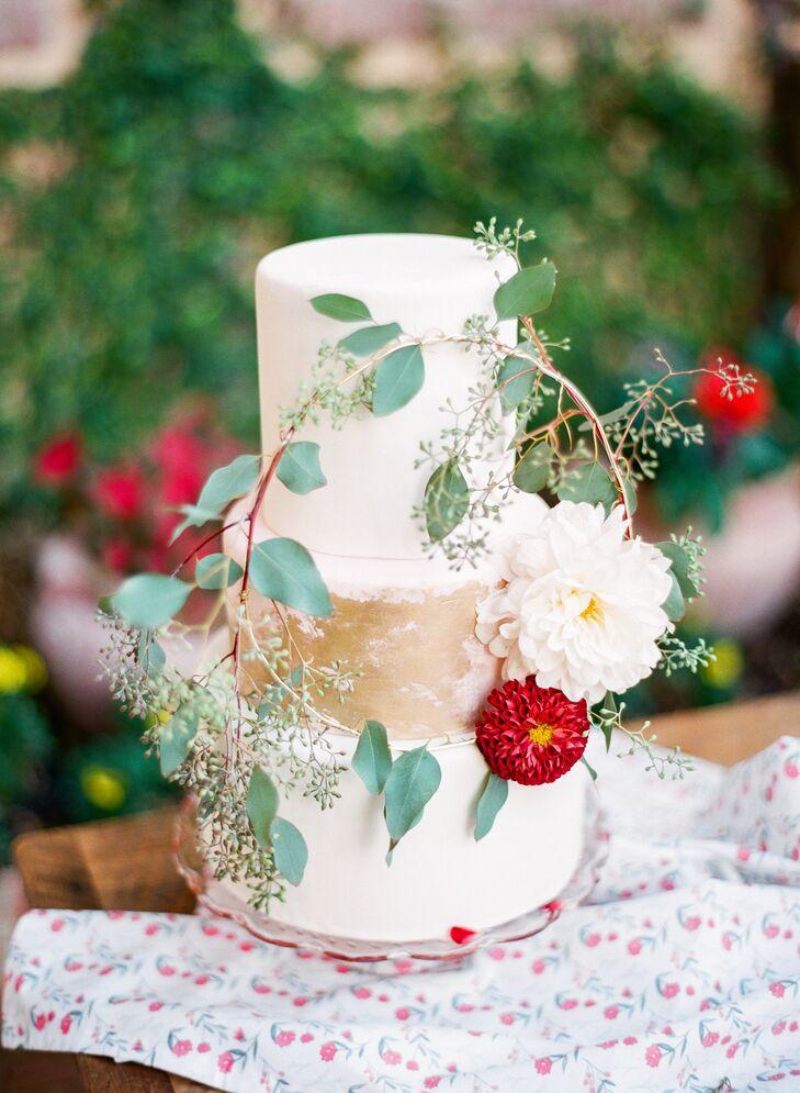 Three-Tier Eucalyptus Accented Wedding Cake